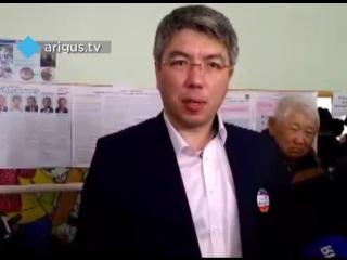 Глава Бурятии Алексей Цыденов на избирательном участке. Выборы 2018