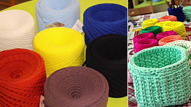 Вязание крючком корзинки из трикотажной пряжи. Мастер-класс от Елены Строговой.