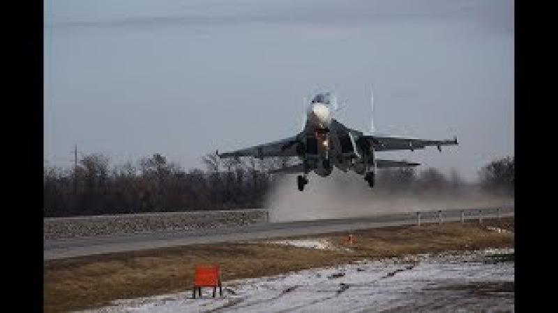 Посадка самолетов Южного военного округа на автодорогу в Ростовской области в р...