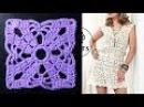 Платье из квадратных мотивов крючком