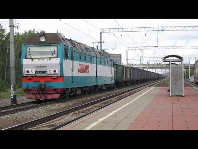 3 в 1: ЭП2К-100 с приветливой бригадой и поездом №123Н, 2ЭС6-493 и 070 с грузовыми поездами