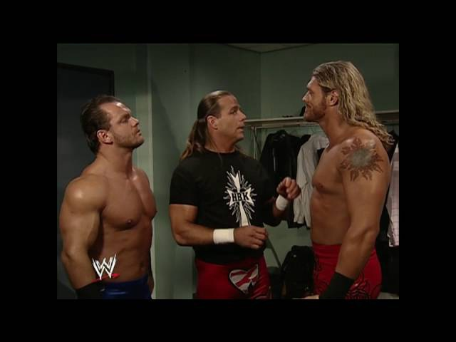 Chris Benoit, Shawn Michaels and Edge backstage: Raw, Oct. 11, 2004