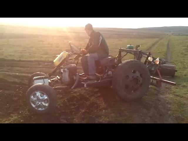 Саморобний міні-трактор Трактоцикл з Катком