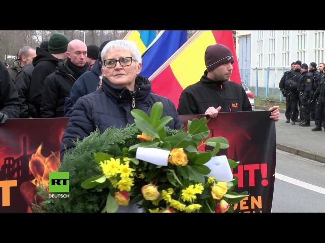Rechte veranstalten Fackelmarsch für bombardiertes Dresden – Antifaschisten protestieren dagegen
