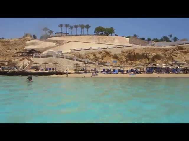 Plaża hotelu Fanara w Sharm El Sheikh także Oasis i Faraana Film z zatoki Ras Um El Sid Cliff