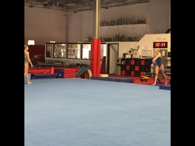 "Riley McCusker/Elite Gymnast on Instagram: ""Double layouts featuring Ryker cheering in the background😂💞 @maggiehaney26"""