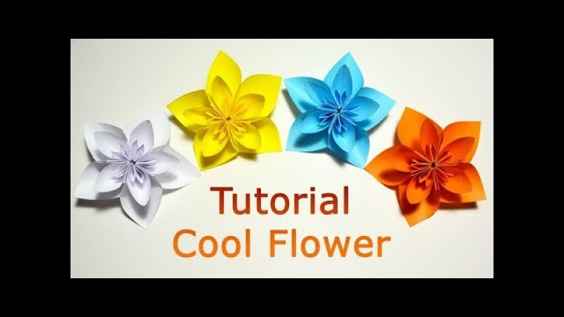 TUTORIAL Really Cool Flower out of 5 square sheets of paper DIY