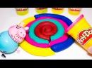 Леденец - радуга из пластилина Плей До. Забавные игры для детей. Запоминаем цвета.
