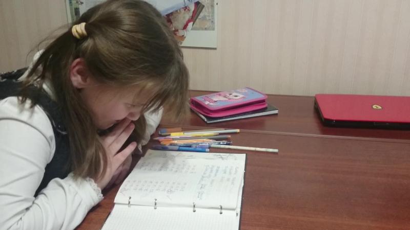 Лиза, 8 лет. Математика на английском