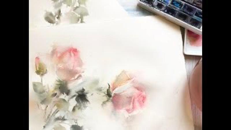 Акварель, розы / Watercolor roses by CanotStop Painting