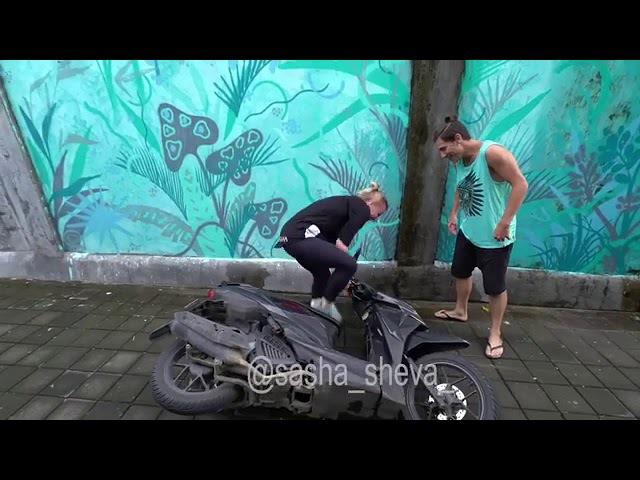 Gymnastic Trick On A Motorbike...