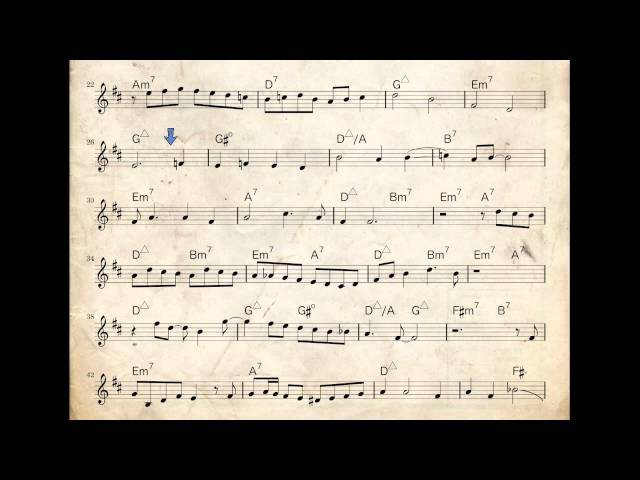 Chet Baker jazz trumpet solo - Look For The Silver Lining - how to play it - Bb transcription
