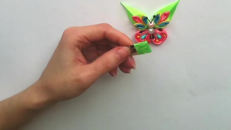Заколки Бабочки канзаши из атласных лент Мастер класс. Hairpins tick tock Butt