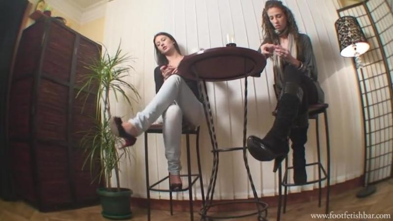 Goddess Lara and Maria Foot worship Foot fetish Фут фетиш smoking femdom