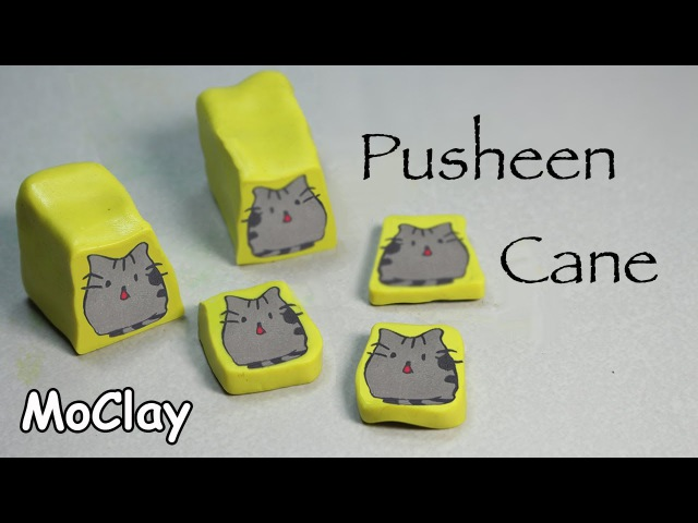 Diy How to make a Pusheen cat polymer clay cane