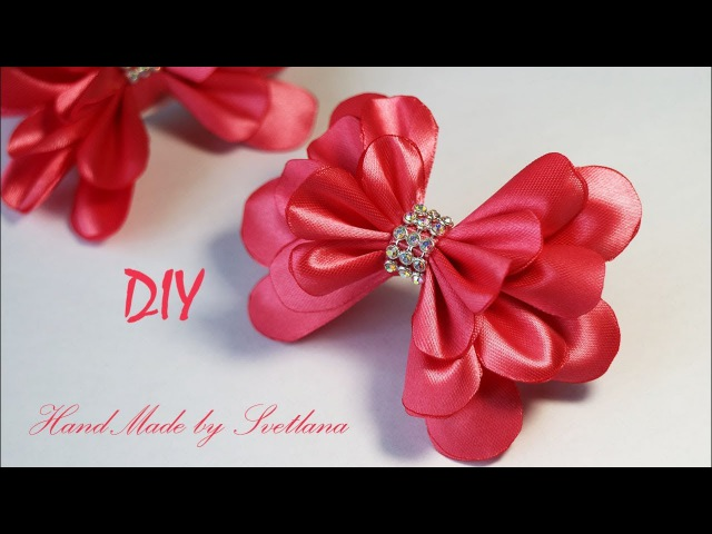 Бантики из атласной ленты на резинке Канзаши Satin ribbon bow Laco de fita