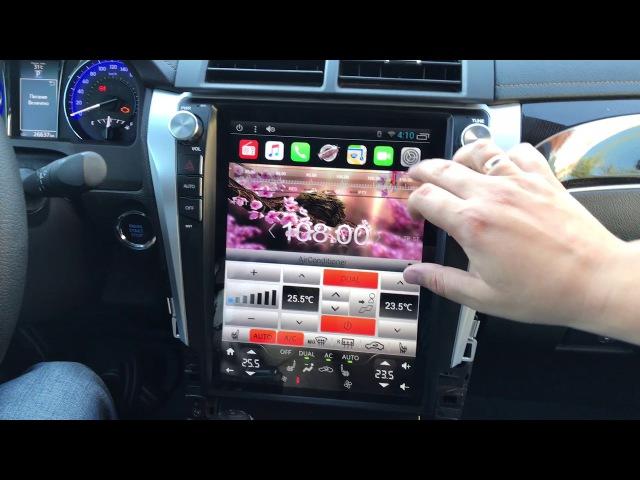 Автомагнитола от компании MegaZvuk Toyota Camry Tesla Style работа кнопок подогрев сидений с с ...