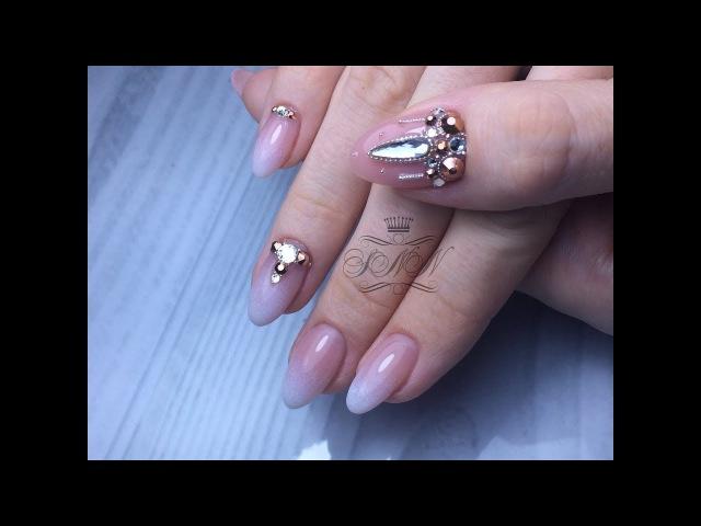 Дизайн Baby-boomer / Маникюр одной фрезой / Укрепление натуральных ногтей гелем