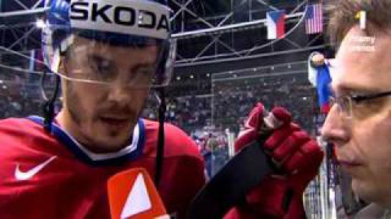 Lukas Krajicek after 2nd period against Suomi