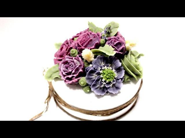 앙금플라워 스카비오사,돌세토장미,폼폼러넌 :: beanpaste flower piping / purple flower