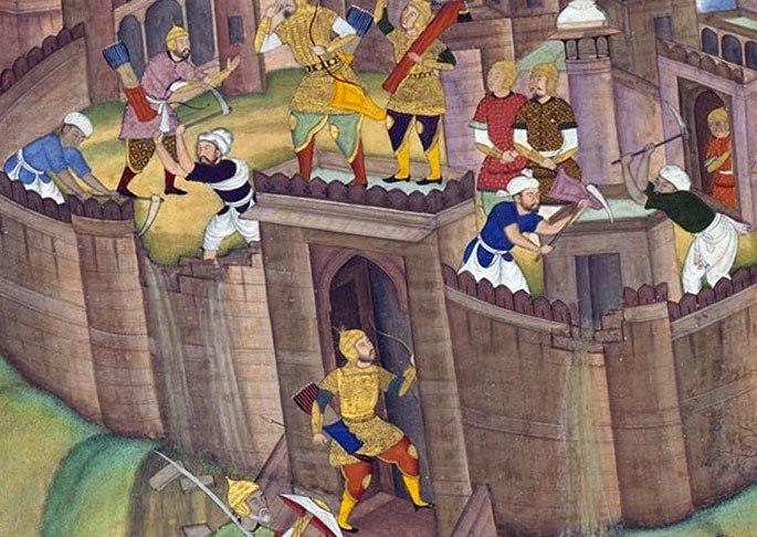 Монголы разрушают крепость