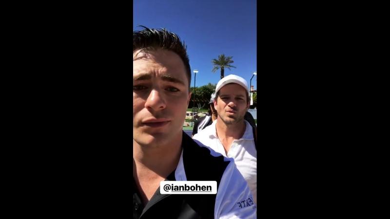 Ian Bohen Colton Haynes at the 2018 Desert Smash Charity Tennis Tournament.