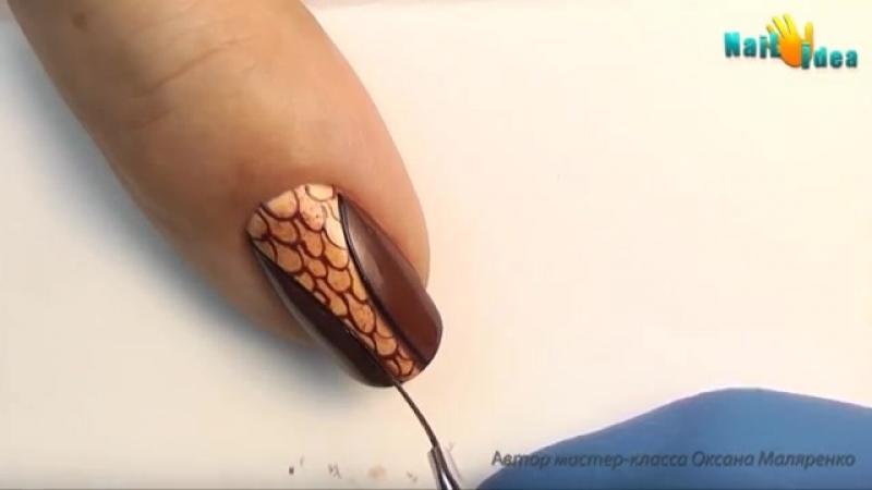 ❤ГЕЛЬ-ЛАК (Шеллак)_ Матовый дизайн гелевых ногтей Благородная Рептилия _ Художес