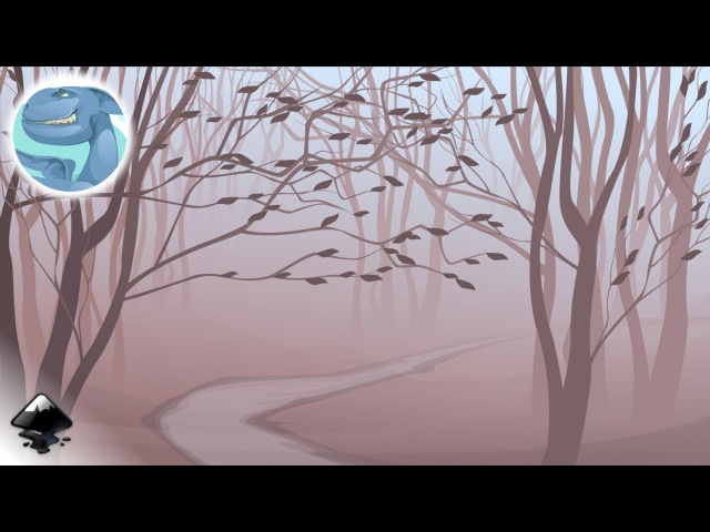 How to draw a landscape with tree trunks in Inkscape