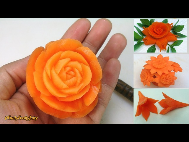 4 Beautiful Carrot Flower Garnishes | Salad Food Designs for Hotel Restaurant