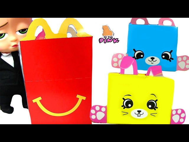 Happy Meal Toys 2018 at McDonalds ШОПКИНСЫ Petkins И YO KAI Босс Молокосос Мультик   Май Тойс Пинк