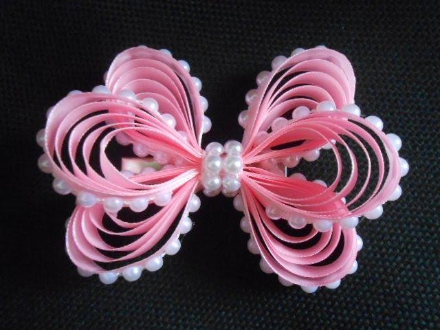 Оригинальный бант из узкой ленты МК DIY Original bow of narrow ribbon