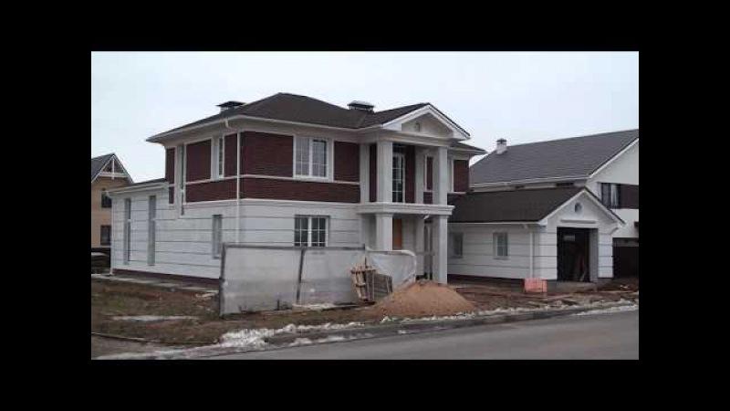 Дом с рустами, второй этаж облицован клинкерной плиткой, фасадная система Церезит