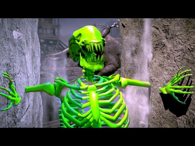 Mortal Kombat XL All Fatalities on Aliens Green Skeleton