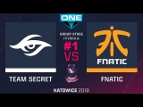 Secret vs Fnatic RU #1 (bo3) ESL One Katowice 2018 Major Group B 22.02.2018