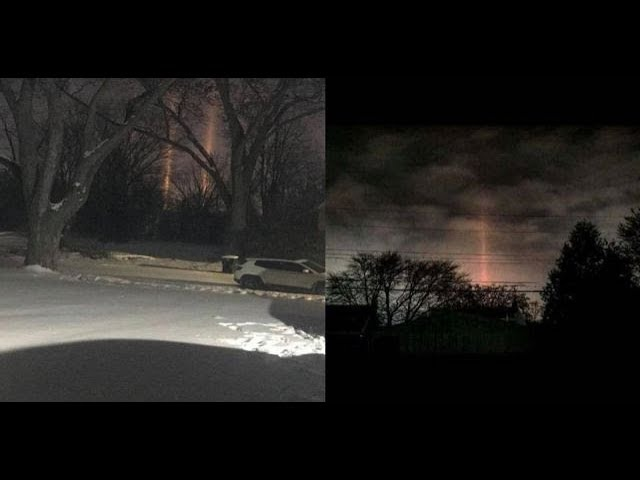 What are these rays of energy beamed down lightning the ground in Michigan?