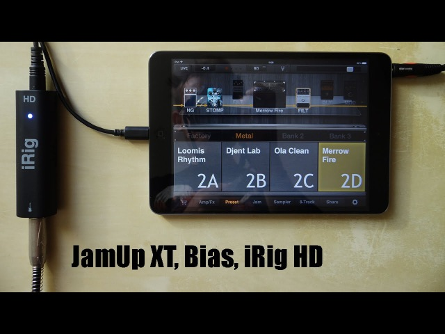 JamUp XT, Bias, iRig HD on iPad mini 2 - Metal