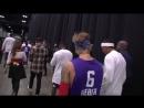NBA: .@justinbieber x .@NickCannon walk out ahead of tonight's RufflesCelebGame! 📺: @ESPNNBA ⏰: 7pm/et