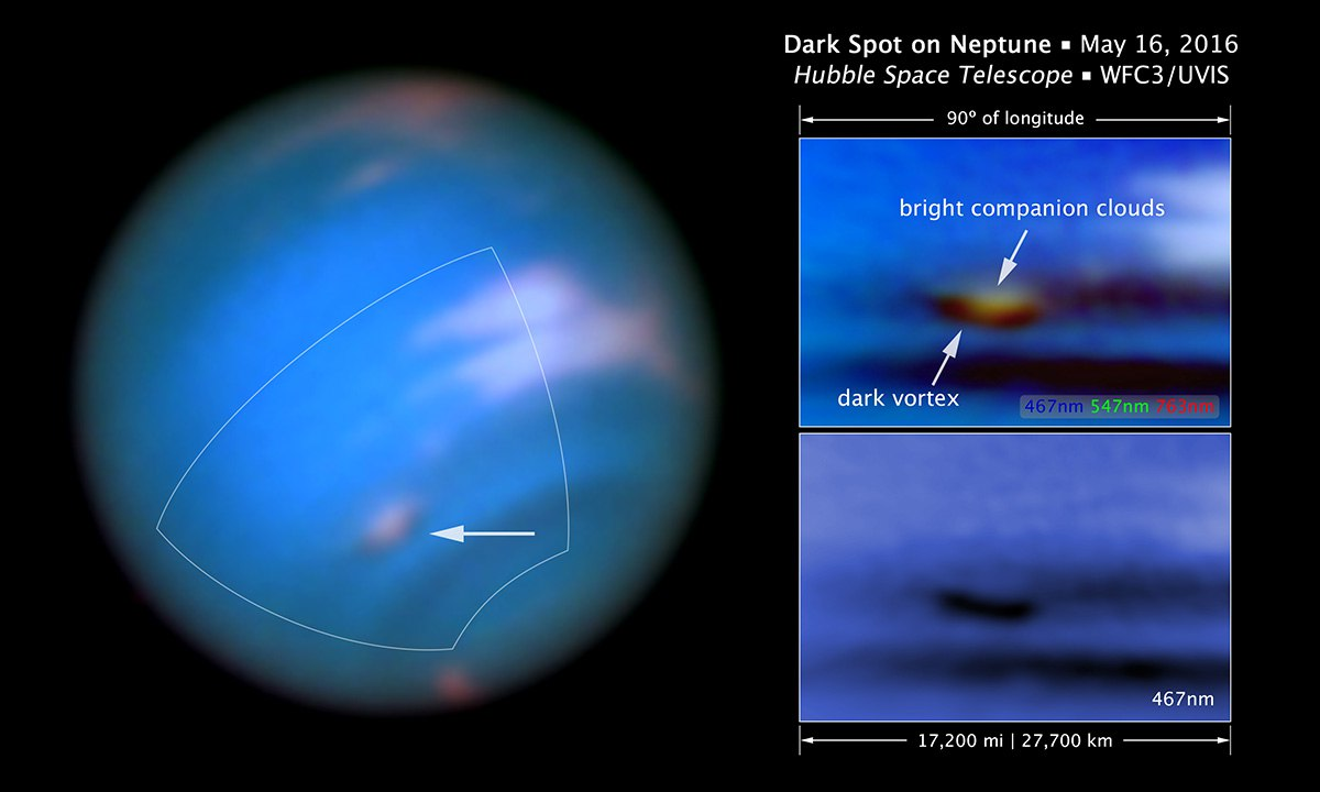 Телескоп «Хаббл» запечатлел затухание шторма на Нептуне