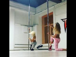 Exotic pole with Mila (Anastasia Fateeva) instagrams