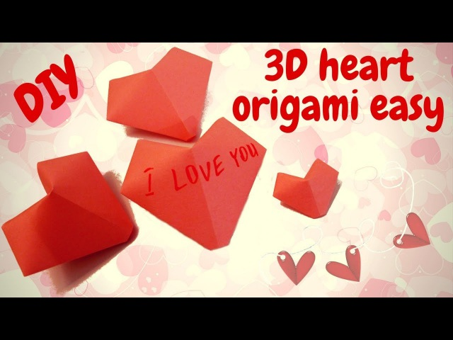 Origami Easy. How to make 3D Heart of paper 💕 Valentine's Day Craft 💕 tutorialdiy stepbystep