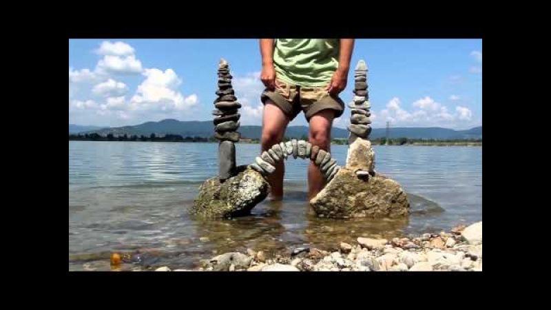 Stone balance art in Hungary by Tamas Kanya(Lupa-tó)
