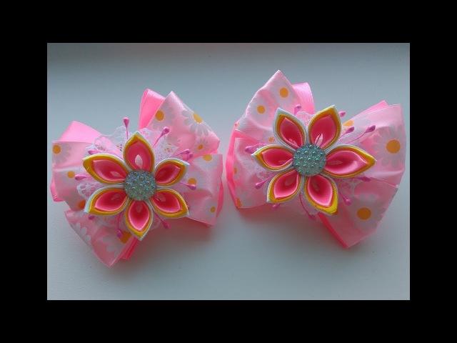 Праздничные бантики из лент с цветком Канзаши МК / Festive ribbon bows with flower Kanzashi MK