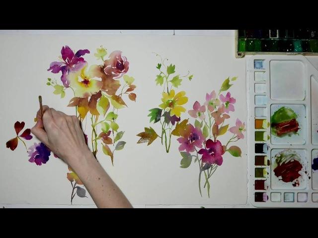 Быстрый акварельные скетч Полевые цветы.