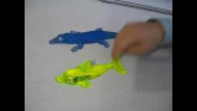 Игрушка - лизун. Крокодил, акула, дельфин ползают везде Toy slime. Delphin, Krokodile crawling