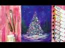 Рисуем новогоднюю елку (текстурная паста акрил)