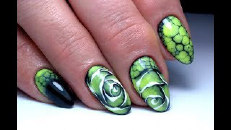 Крутой дизайн ногтей по мокрому Цветок Egoista ТОП удивителные дизайны ногтей