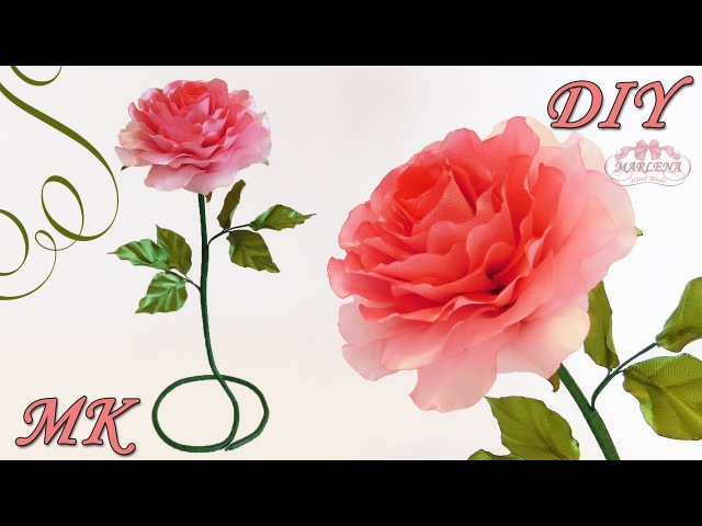 🌹 РОЗЫ ИЗ ЛЕНТ. Интерьерная роза своими руками 👐 МК/DIY