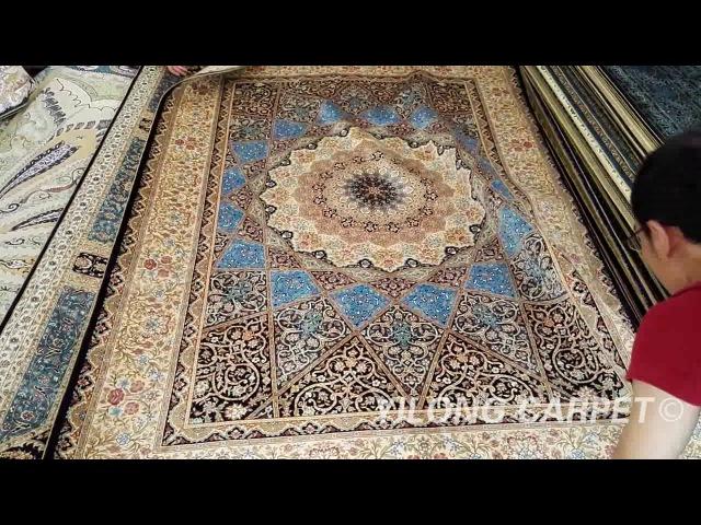 Antique Oriental Silk Rug Handmade Carpet