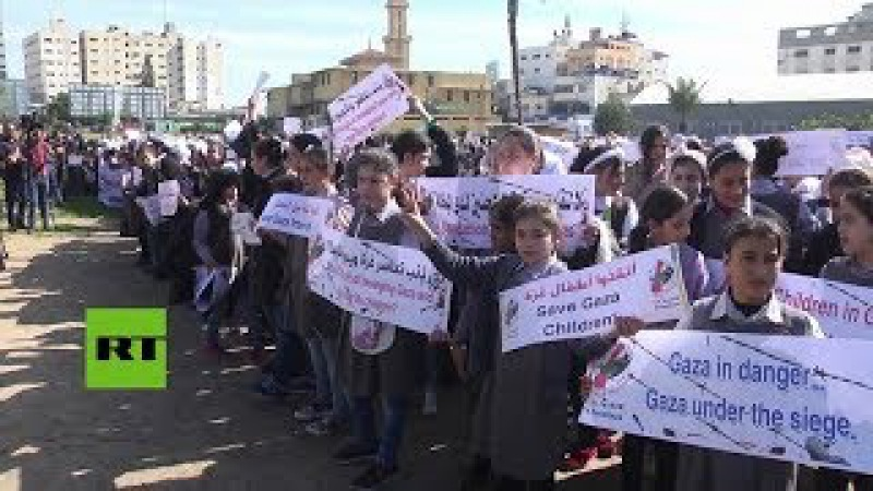 Palestina: Niños protestan contra el bloqueo a la Franja de Gaza por parte de Israel