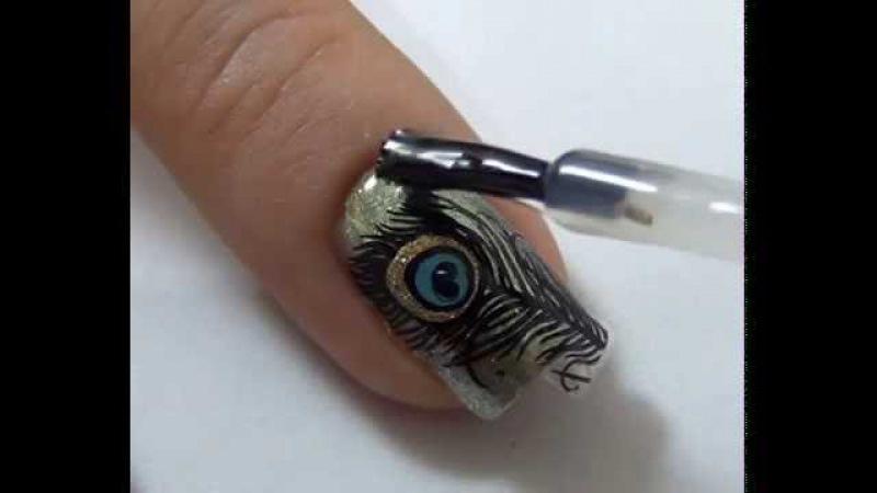 Дизайн ногтей Павлин реверсивный стемпинг Reverse-stamping Peacock feather